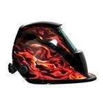 Máscara de Solda Personalizada Chamas C/ Ajuste de Sensibilidade e Escurecimento Automático