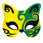 Máscara para Festa Cartonada Gato com Glitter 05 Unidades