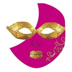 Máscara para Festa Cartonada Meia-lua com Glitter 05 Unidades