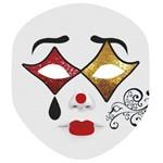 Máscara para Festa Cartonada Pierrô com Glitter 05 Unidades