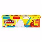 Massinha Play-doh - 4 Potes - Azul, Vermelho, Branco e Amarelo - Hasbro