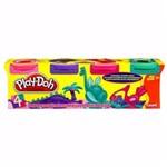 Massinha Play-doh - 4 Potes - Rosa, Roxo, Pink e Verde - Hasbro