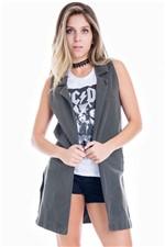 Maxi Colete Feminino Jeans Alongado CT0072 - Kam Bess