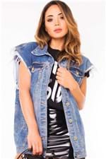 Maxi Colete Jeans Destroyed Feminino CT0073 - Kam Bess