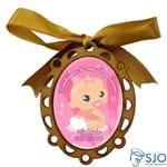 Medalhão de Madeira para Lembrancinhas de Nascimento - Oval | SJO Artigos Religiosos