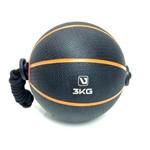 Medicine Ball com Corda - 3kg - Preto e Laranja