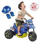 Mega Moto Xt3 Elétrica 6v Azul 2700 Mais Kit de Proteção Mega Aventura Azul