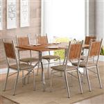 Mesa 1556 para 6 Lugares 1,36cm + 6 Cadeiras 1723 Camurça Conhaque