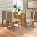 Mesa de Jantar 160 X 80 Marrom Claro com 6 Cadeiras Estofadas Bege