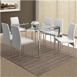 Mesa de Jantar 6 Lugares Madagáscar Cromado/Branco - Carraro Móveis