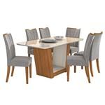 Mesa de Jantar Apogeu 6 Cadeiras com Tampo Off White - Rovere Soft