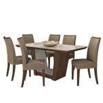 Mesa de Jantar Apogeu 6 Cadeiras Off White - Imbuia Soft