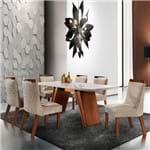 Mesa de Jantar Atena 1,80m com Vidro Offwhite + 6 Cadeiras Tecido 145 - Prêmio