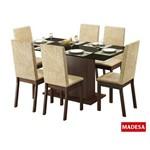 Mesa de Jantar com 6 Cadeiras Madesa Nanda Tabaco e Suede Imperial