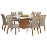 Mesa de Jantar Grécia Prato Giratório 140cm com 8 Cadeiras - Imbuia Mel / Linho Bege