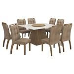 Mesa de Jantar Grécia Prato Giratório 140cm com 8 Cadeiras - Ypê / Animale Capuccino