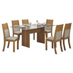 Mesa de Jantar Havaí 160cm Tampo de Vidro com 6 Cadeiras - Imbuia Mel / Pena Palha