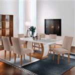 Mesa de Jantar Jade 1,80m com Vidro Offwhite + 6 Cadeiras Jade Linho Rústico - Imbuia com Offwhite
