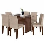Mesa de Jantar Marrom 159 X 79 Cm com Tampo de Vidro com 6 Cadeiras Bege