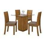 Mesa de Jantar Petra 90cm com 4 Cadeiras - Sued Animale Bege