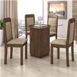 Mesa de Jantar Petra C/4 Cadeiras Agnes Imbuia Soft/sued Animale Bege - Lopas
