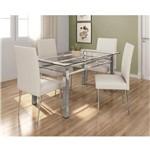 Mesa de Jantar Retangular com 4 Cadeiras Bartira Marcela em Linho