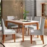 Mesa de Jantar Rouge 1,70m com Vidro Offwhite + 6 Cadeiras Serena Tec Linho Claro - Rústico Terrara