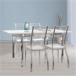 Mesa Extensível 1541 Branco com Cromado + 4 Cadeiras 1710 Napa Branco