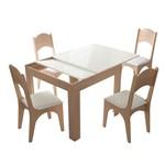 Mesa Extensível TM37 com 4 Cadeiras CA18 - Natural/Off White