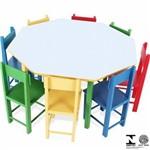 Mesa Infantil Oitavada com 8 Cadeiras Coloridas 5018 Carlu