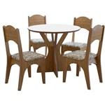 Mesa Nina com 4 Cadeiras - Freijo/Floral Claro