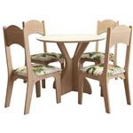 Mesa Nina com 4 Cadeiras - Natural/Floral Verde