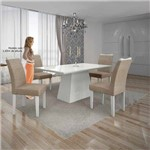 Mesa Pampulha 120x80 Cm C/4 Cadeiras Vidro Branco Linho Bege/branco - Leifer Móveis