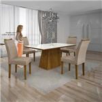Mesa Pampulha 120x80 Cm C/4 Cadeiras Vidro Branco Linho Bege/canela - Leifer Móveis