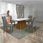 Mesa Pampulha 120x80 Cm C/4 Cadeiras Vidro Branco Linho Cinza /canela - Leifer Móveis