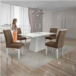 Mesa Pampulha 120x80 Cm C/4 Cadeiras Vidro Branco Linho Marrom/branco - Leifer Móveis