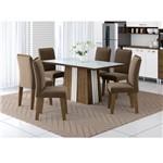 Mesa para Sala de Jantar Priscila com 06 Cadeiras Mariana Dakota Branco Marrom Aramóveis