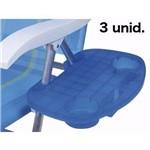 Mesa Portátil Azul para Cadeira de Praia Mor - Kit com 3