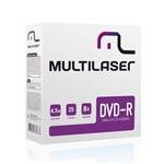 Mídia DVD R Multilaser Dv042 4,7 Gb 8x Caixa com Envelopes Finos 25 Unidades
