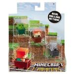 Minecraft Mini Figuras - Pack com 3 - com Carrinho - Cubos de Slim - Alex - Esqueleto