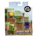Minecraft Mini Figuras - Pack com 3 - com Carrinho - Jaguatirica - Zumbi - Enderman