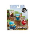 Minecraft Mini Figuras - Pack com 3 - com Carrinho - Porco Zumbi - Steve de Diamante - Cogumelo