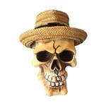 Mini Caveira Resina Panama Hat Beje 8 X 7,5 X 9 Cm