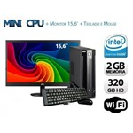 Mini Cpu Dual Core 2GB RAM, HD 320GB, Wifi C/ Monitor , Teclado e Mouse