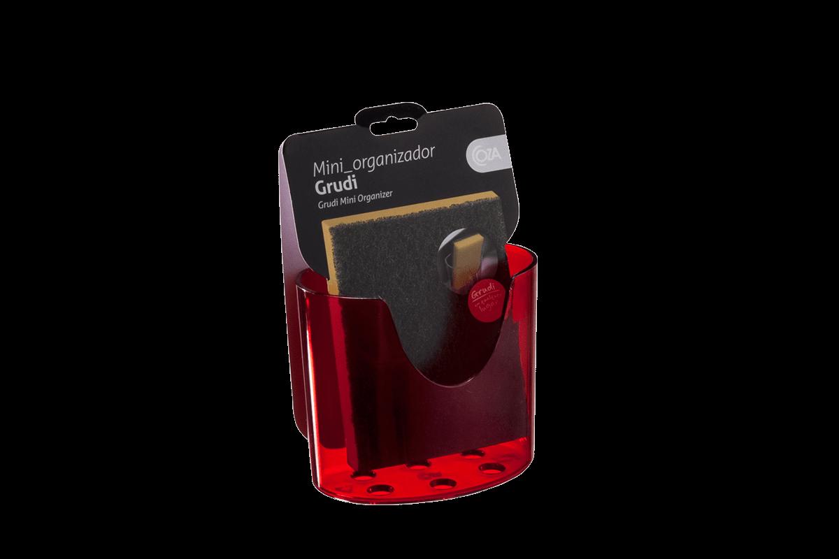 Mini Organizador Glass 10,4 X 5,6 X 9 Cm Vermelho Transparente Coza