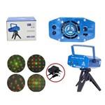 Mini Projetor Holografico a LASER 4 Desenhos e Movimento com Tripe Azul 173A