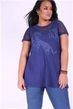 Mini Vest com Renda Plus Size Azul Marinho PP