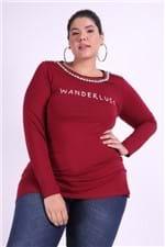 Mini Vest com Silk e Bordada Plus Size Vinho G