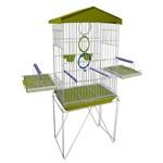 Mini Viveiro Gaiola Teto Plástico para Pássaros Calopsita Mansa Cor Amarelo