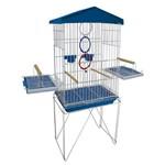 Mini Viveiro Gaiola Teto Plástico para Pássaros Calopsita Mansa Cor Azul
